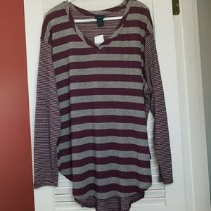 Rue21 • 3/4 Violet & Grey Stripped Tunic